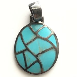 Turquoise and Sterling Silver pendant Vintage 925